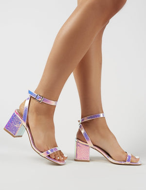 Celine Block Heel Barely Theres in Iridescent Croc