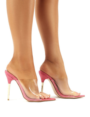 Headliner Pink Snakeskin Pointed Stiletto Heeled Mules