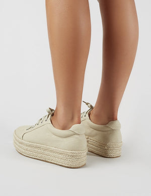 Paloma Espadrille Flatform Trainers in Beige Canvas