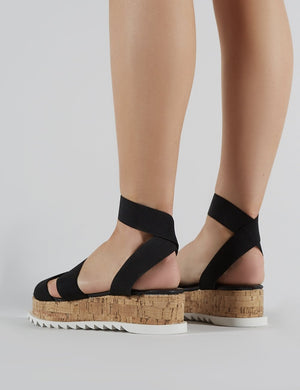 Cassie Elasticated Strappy Flatform Sandals in Black