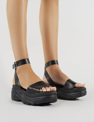 Perrie Chunky Sandals in Black PU