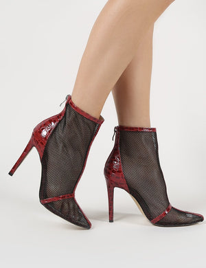 Aleisha Mesh Pointed Ankle Boots in Red Croc