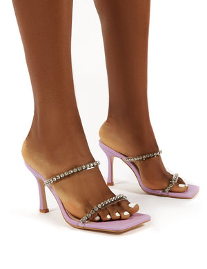 Ellie Wide Fit Lilac Double Diamante Strap Square Toe Mid Height Heel