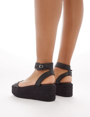 Jeni Espadrille Flatform Sandals in Black PU