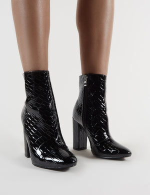Presley Ankle Boots in Black Croc