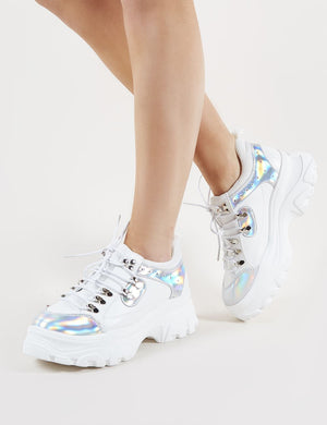Funk Chunky Trainers in White and Silver