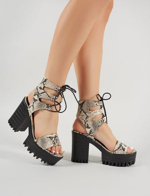 Hailey Lace Up Chunky Heels in Faux Snakeskin