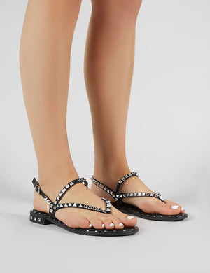 Maddison Studded Sandals in Black