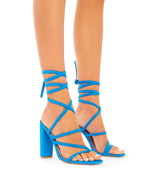 Lucie Blue Lace Up Block Heels