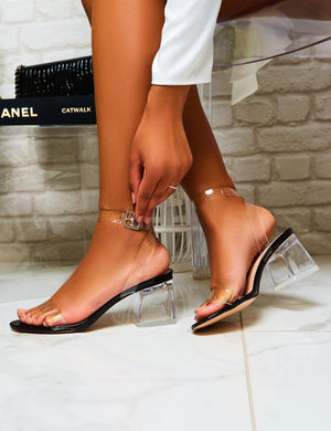 Afternoon Perspex Block Mid Heels in Black Patent