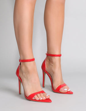 Ace Pointed Barely There Heels in Red Patent