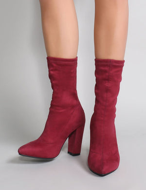 Montreal Sock Fit Ankle Boots in Burgundy Faux Suede