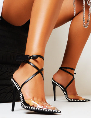 SOS Mono Stripe Perspex Stiletto High Heels