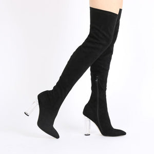 Dominique Long Boots in Black Faux Suede With Perspex Heel