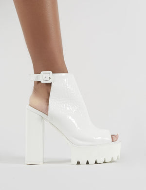 Jada Cleated Platform Block Heels in White Croc