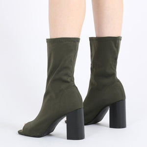 Yasmin Peeptoe Sock Fit Ankle Boots in Khaki Stretch