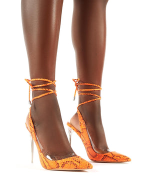 Clarity Orange Snake Lace Up Stiletto Heels