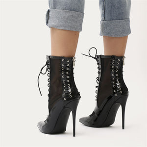 Eshal Lace Up Mesh Detail Pointed Toe Ankle Boots in Black Patent