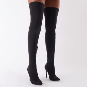 Darin' Over The Knee Boots in Black Stretch