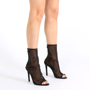 Bryce Peeptoe Ankle Boots in Black Mesh