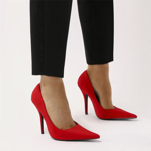 Tease Sharp Pointed Toe Court Heels in Red