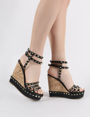 Aroha Wedge Sandals in Black PU