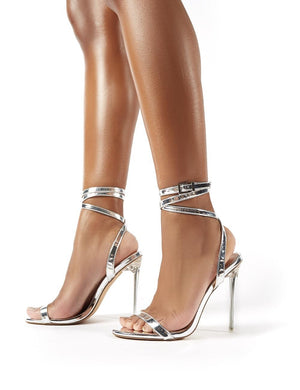 Relish Silver Lace Up Perspex Stiletto Heels
