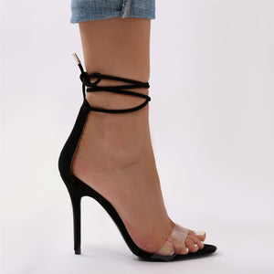 Stefani Lace Up Heels in Black Faux Suede