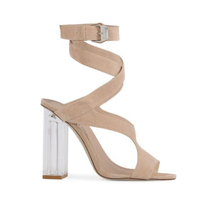 Gloria Perspex Cut Out Heels in Nude Faux Suede