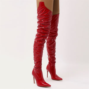 Houdini Extreme Thigh High Vinyl Boots in Red Patent