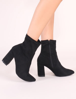 Raya Pointed Toe Ankle Boots in Black Faux Suede
