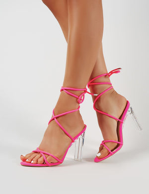 Amplify Lace Up Perspex Heels Neon Pink