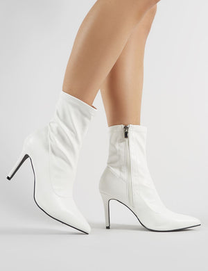 Radar Pointy Stiletto Heeled Ankle Boots in White