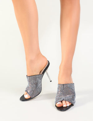 Purr Diamante Perspex Heeled Mules in Black