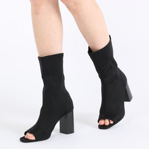 Yasmin Peeptoe Sock Fit Ankle Boots in Black Stretch