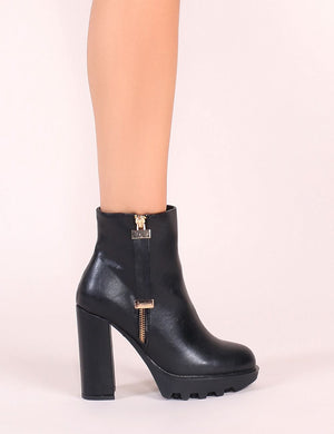 Joji Cleated Ankle Boots in Black