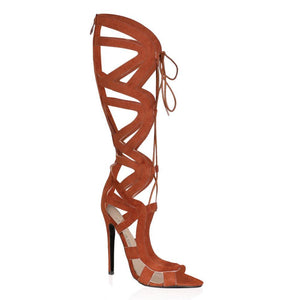 Nada Brown Knee High Lace Up Heels