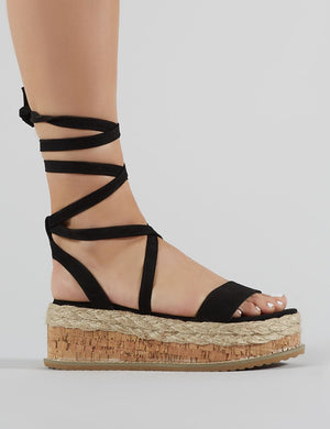 Fresca Lace Up Sandal in Black Faux Suede