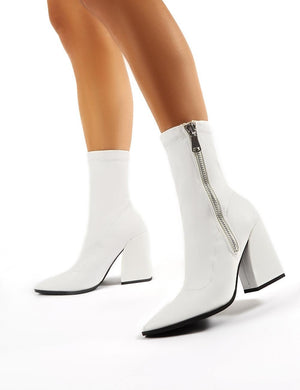 Jamie White PU Sock Fit Block Heeled Ankle Boots