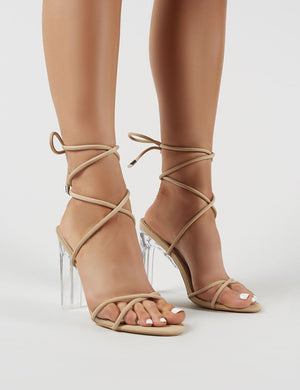 Amplify Lace Up Perspex Heels in Nude