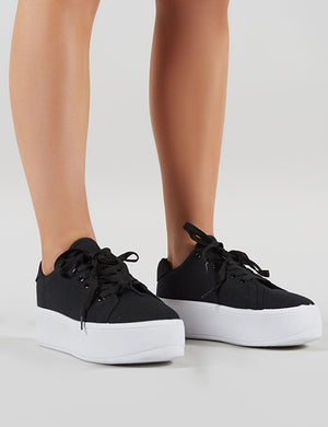 Paisley Flatform Canvas Trainers in Black