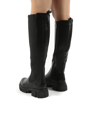 Action Black PU Knee High Chunky Sole Boots