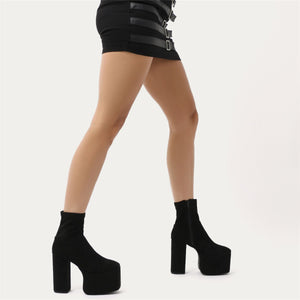 Mayhem Extreme Platform Ankle Boots in Black Faux Suede