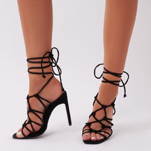 Baby Knotted Flat Heels in Black Faux Suede