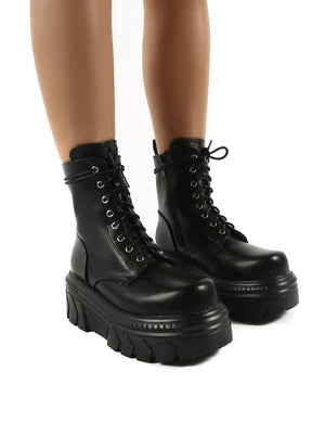 Capture Black Extreme Chunky Platform Sole Ankle Lace Up Boots