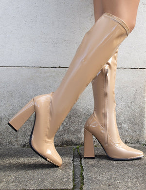 Caryn Camel PU Wide Fit Knee High Heeled Boot