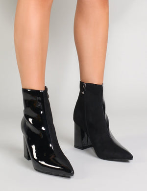 Chaos Contrast Pointed Toe Ankle Boots in Black Patent and Faux Suede