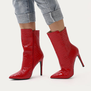 Chile Asymmetric Pointed Toe Ankle Boots in Red Faux Snake