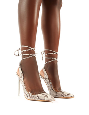 Clarity Iridescent Snake Lace Up Perspex Heel Court Shoes