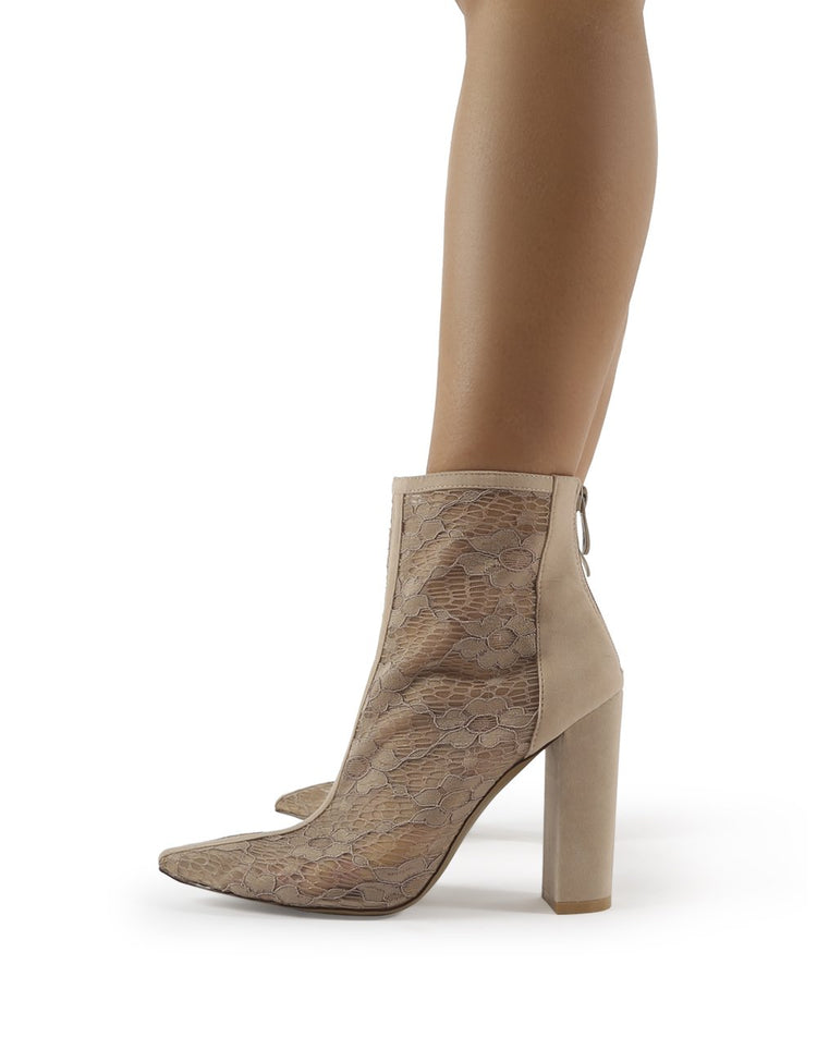 Cynthia Nude Faux Suede Lace Mesh Heeled Ankle Boot